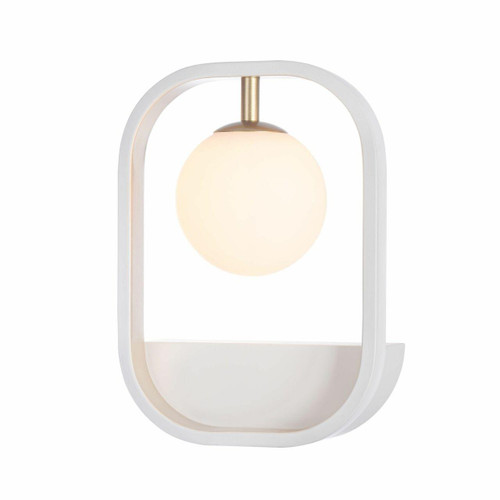 Maytoni Avola Matt White with Gold and Opal Glass Wall Light