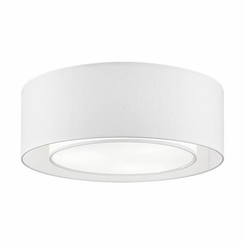Maytoni Bergamo 3 Light White Fabric Flush Ceiling Light