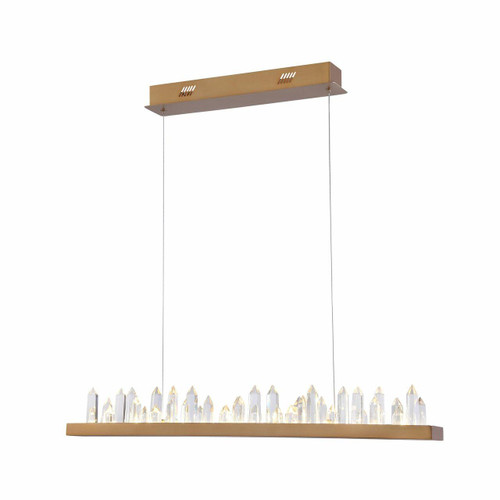 Maytoni Gletscher Brass with Crystal Detail Bar Pendant Light
