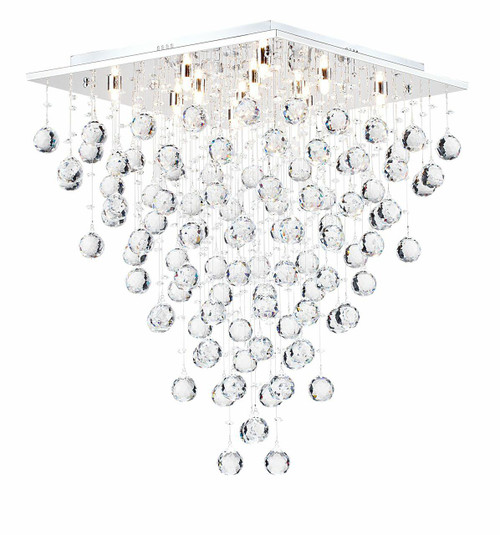 Maytoni Swirl 12 Light Chrome With Crystal Droplet Ceiling Light
