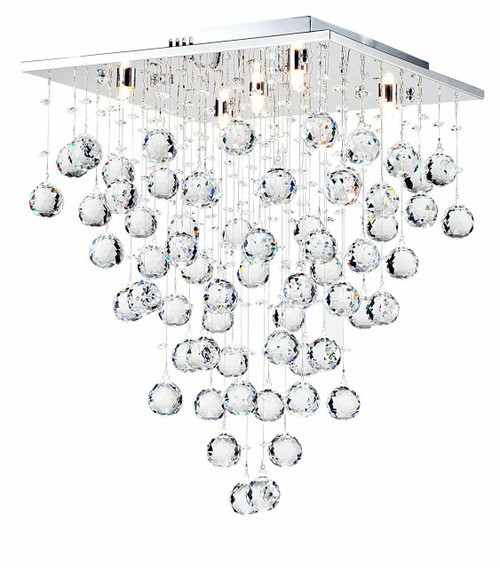 Maytoni Swirl 5 Light Chrome With Crystal Droplet Ceiling Light