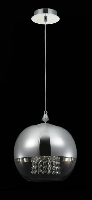 Maytoni Fermi Large Chromed Glass With Optional Crystal Droplet Pendant Light