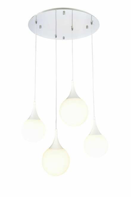 Maytoni Dewdrop 5 Light Chrome With White And Opal Glass Cluster Pendant Light