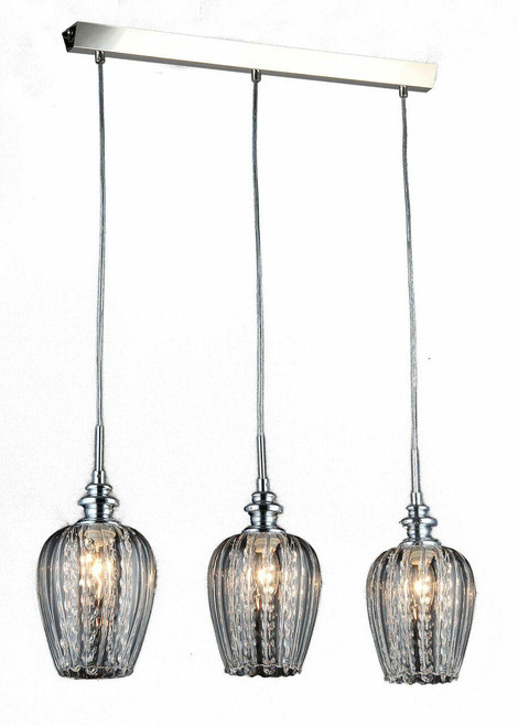 Maytoni Blues 3 Light Satin Nickel With Clear Glass And Crystal Bar Pendant Light