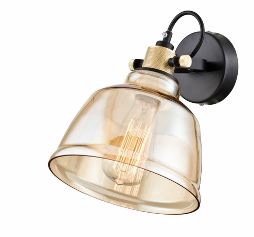 Maytoni Irving Black With Brass And Amber Glass Adjustable Wall Light