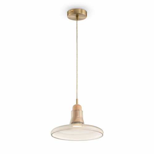 Maytoni Ola Brass With Wood Detail and Amber Glass Shallow Pendant Light