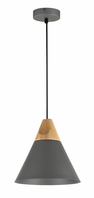 Maytoni Bicones 220mm Grey with Wood Detail Pendant Light
