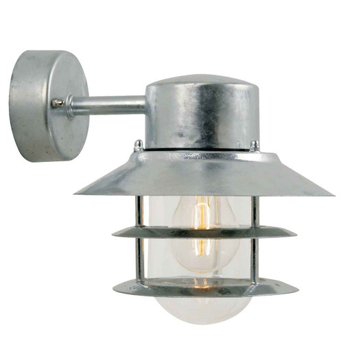 Blokhus Galvanized steel with Clear Glass Wall Light