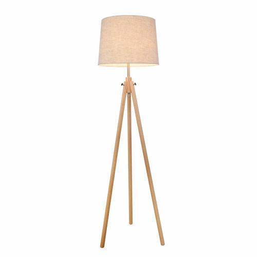 Maytoni Calvin Wood Tripod with Beige Shade Floor Lamp