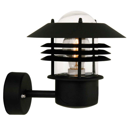 Vejers Black with Clear Glass Wall Light