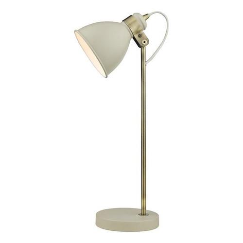 Dar Lighting Frederick Gloss Cream with Satin Chrome Adjustable Table Lamp