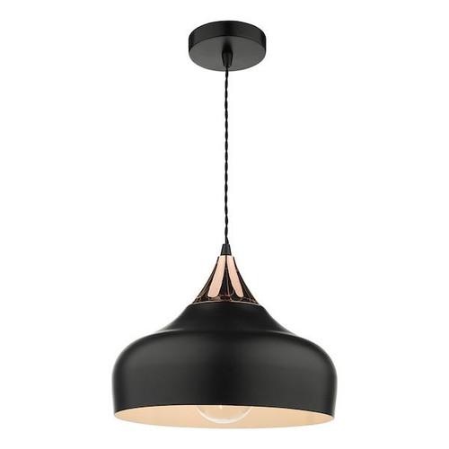 Dar Lighting Gaucho Black with Copper Detail Pendant Light