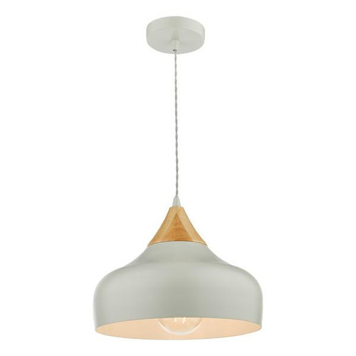 Dar Lighting Gaucho Grey with Wood Detail Pendant Light