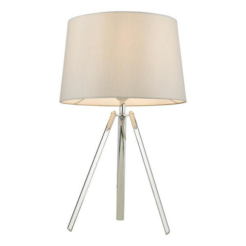 Dar Lighting Griffith Polished Chrome with Satin Grey Fabric Shade able Lamp