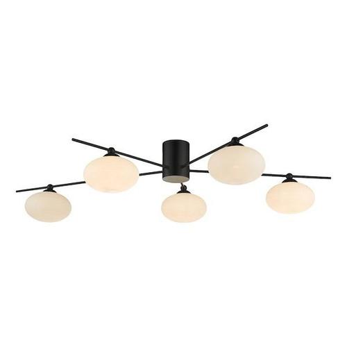 Dar Lighting Jasper 5 Light Matt Black with Opal Glass Semi-Flush Ceiling Light