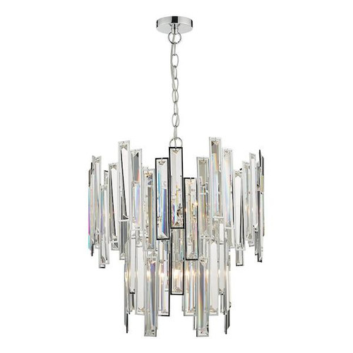Dar Lighting Odile 6 Light Polished Chrome and Clear Crystal Pendant Light