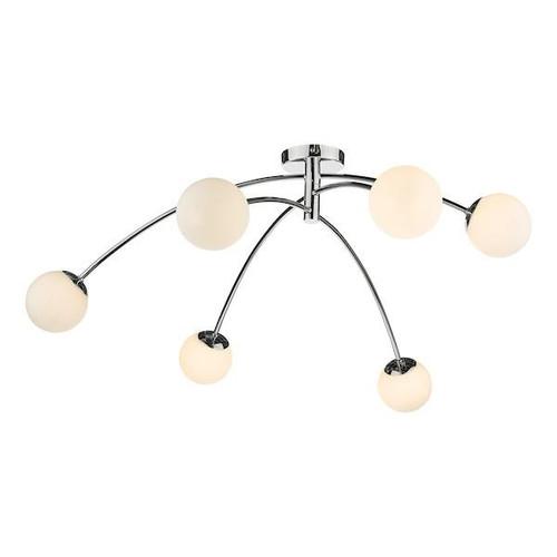 Dar Lighting Puglia 6 Light Polished Chrome with Opal Glass Semi-Flush Ceiling Light