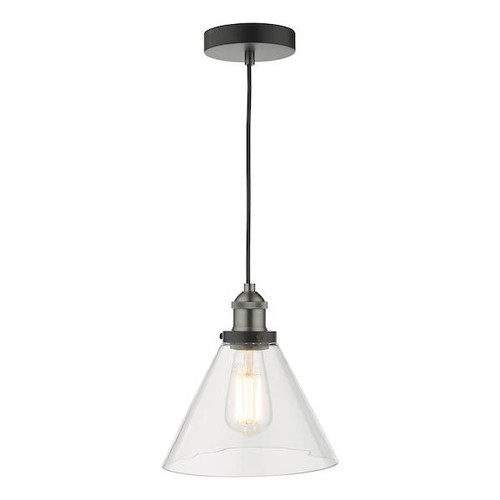 Dar Lighting Ray Antique Nickel with Clear Glass Pendant Light