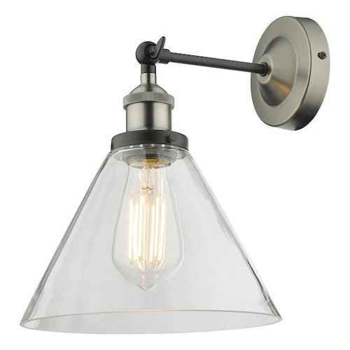 Dar Lighting Ray Antique Nickel with Clear Glass Adjustable Wall Light