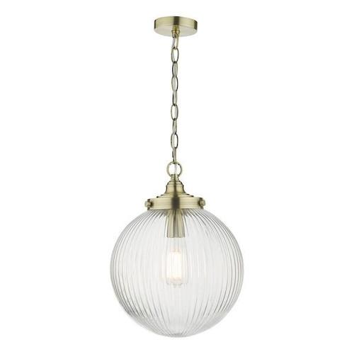 Dar Lighting Tamara Antique Brass with Clear Ribbed Glass Pendant Light