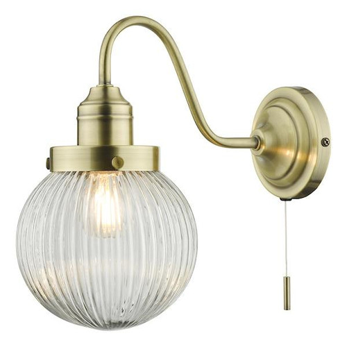 Dar Lighting Tamara Antique Brass with Clear Ribbed Glass Wall Light