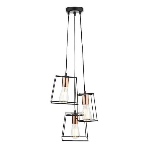Dar Lighting Tower 3 Light Matt Black and Polished Copper Cluster Pendant