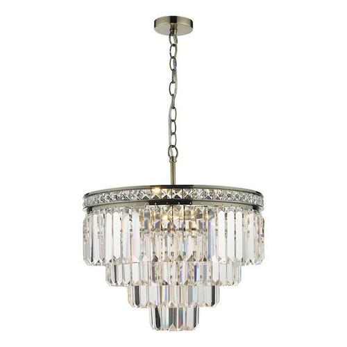 Dar Lighting Vyana 4 Light Antique Brass and Crystal Pendant Light