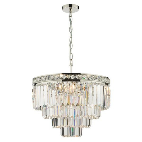Dar Lighting Vyana 4 Light Polished Nickel and Crystal Pendant Light