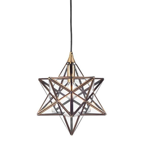 Dar Lighting Ilario Antique Brass with Clear Glass Small Star Pendant Light