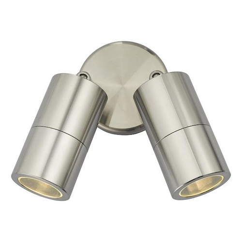 Dar Lighting Ortega 2 Light Aluminium Adjustable IP65 Wall Light