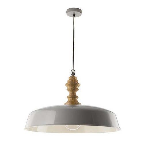 Dar Lighting Vadna Grey with White Inner and Wood Detail Pendant Light