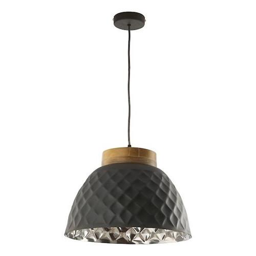Dar Lighting Wazir Dark Grey with Mango Wood detail Pendant Light