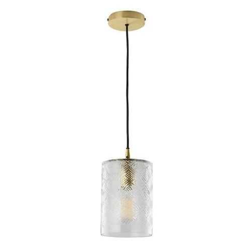Dar Lighting Zecchino Matt Brass with Handblown Glass Shade Pendant Light
