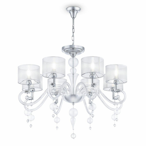 Maytoni Bubble Dreams 8 Light Glass Body with Translucent Fabric Shades Pendant Light