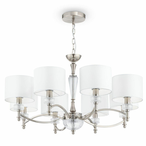 Maytoni Alicante 8 Light Satin Nickel and Glass with White Shades Pendant Light