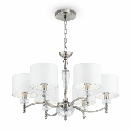 Maytoni Alicante 6 Light Satin Nickel and Glass with White Shades Pendant Light