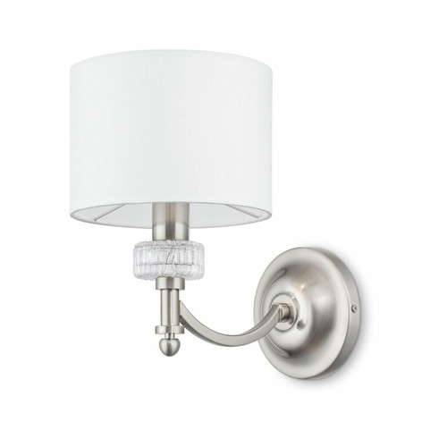 Maytoni Alicante Satin Nickel and Glass with White Shade Wall Light