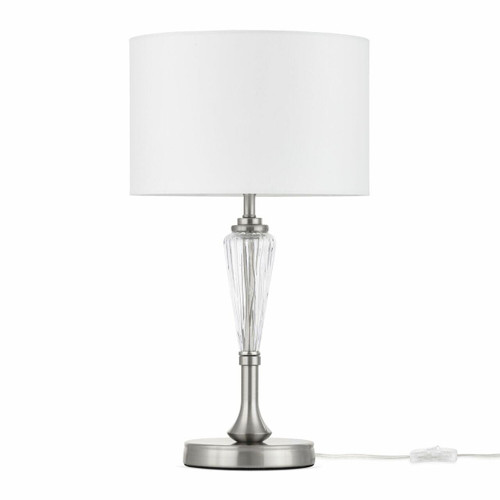 Maytoni Alicante Satin Nickel and Glass with White Shade Table Lamp