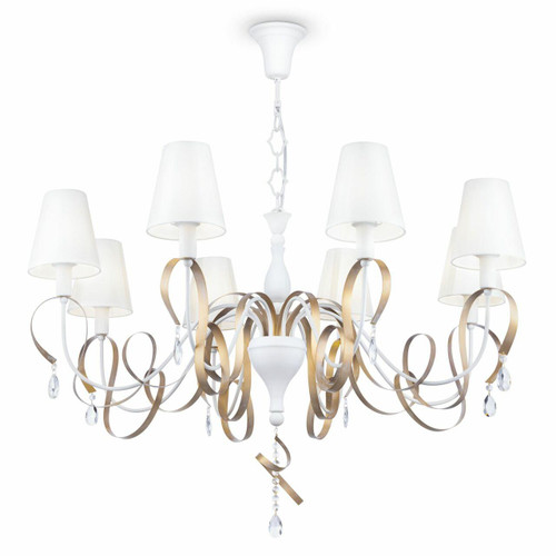 Maytoni Intreccio 8 Light White with Gold Ribbon and White Shades Pendant Light