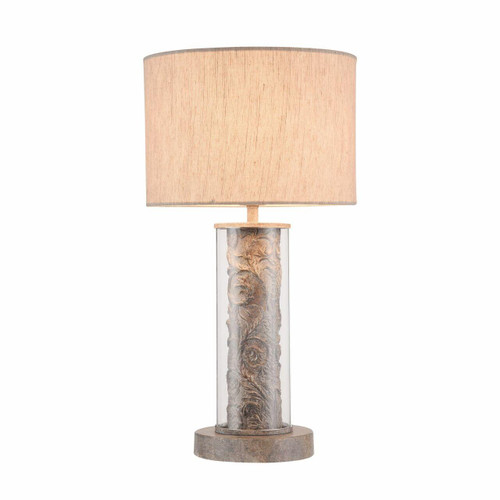 Maytoni Maryland Moulded Resin and Glass with Linen Shade Table Lamp
