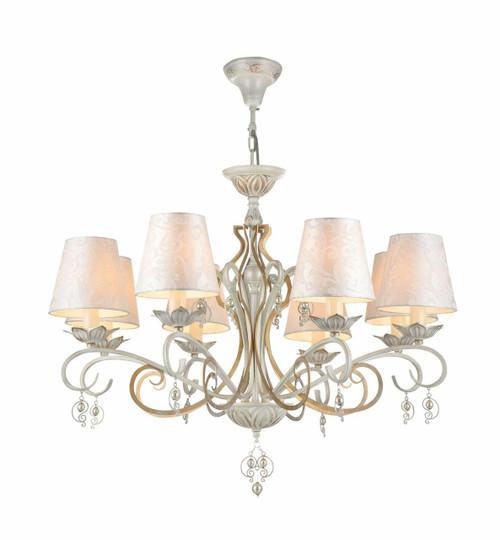 Maytoni Monile 6 Light Antique White and Gold with Patterned Shades Pendant Light