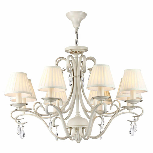 Maytoni Brionia 8 Light Beige and Gold with Cream Shades Pendant Light