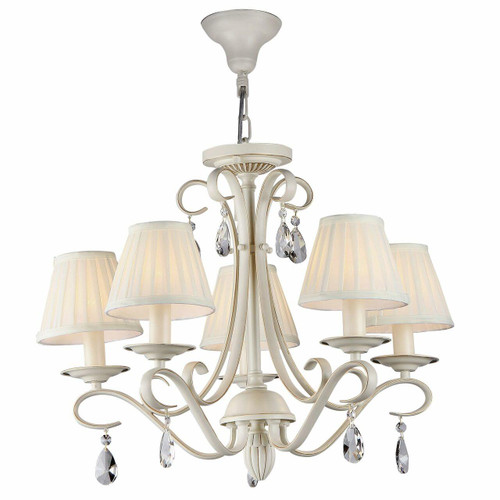 Maytoni Brionia 5 Light Beige and Gold with Cream Shades Pendant Light