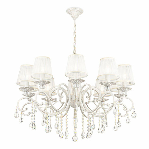 Maytoni Grace 10 Light Antique White and Gold with White Organza Shades Pendant Light