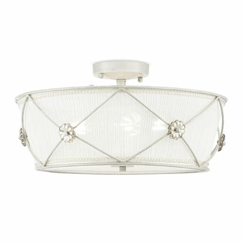 Maytoni Lea 3 Light Antique White with White Organza Shade Semi-Flush Ceiling Light