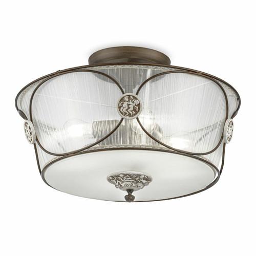 Maytoni Letizia 4 Light Antique Bronze and White with Transparent Pleated Shade Semi-Flush Ceiling Light