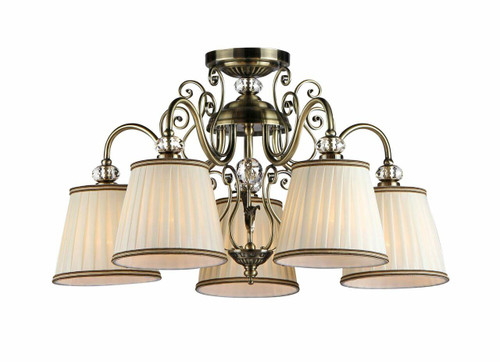 Maytoni Vintage 5 Light Antique Brass and Glass with Cream Shade Pendant Light