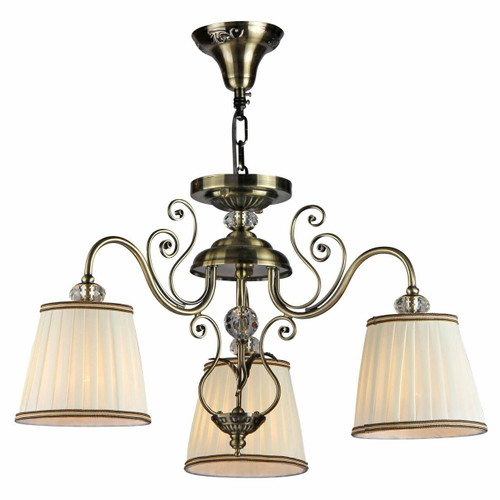 Maytoni Vintage 3 Light Antique Brass and Glass with Cream Shade Pendant Light