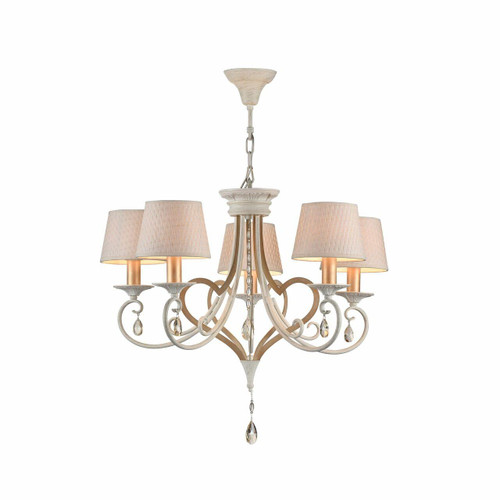 Maytoni Enna 5 Light Antique White and Gold with Patterned Shade Pendant Light
