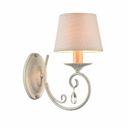 Maytoni Enna Antique White and Gold with Patterned Shade Wall Light